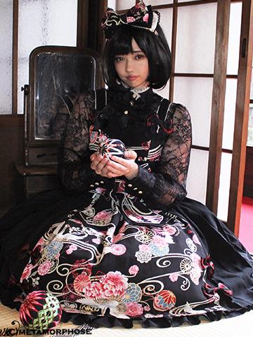 No.610 花鳥風月 プリーツジャンパースカートコーデ(草柄リボン)