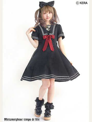 No.663 2019セーラーシリーズ セーラーフレアワンピース コーデ(黒)