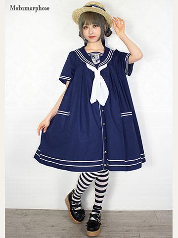No.664 2019セーラーシリーズ セーラーシャツワンピース コーデ(紺)