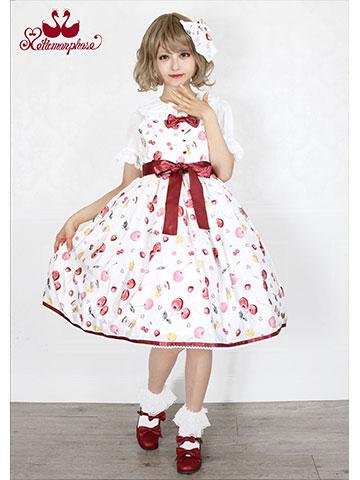 No.682 floating heart cherry リボン ジャンパースカート コーデ