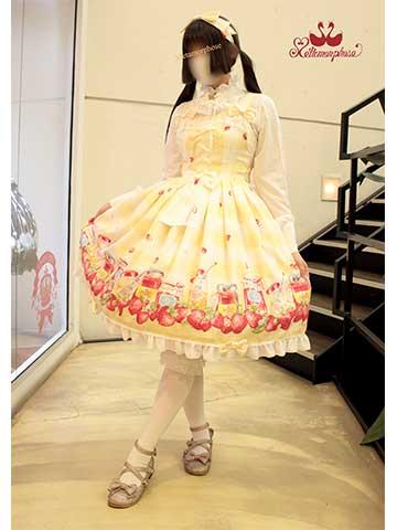 No.715 sweet berry gingham リボンジャンパースカート(クリーム)