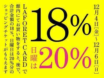 ラフォーレカード18%還元フェア