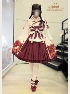 No.712 風花のゆきうさぎ プリーツジャンパースカート(オフ白系×えんじ)