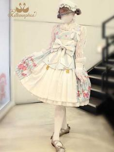 No.713 風花のゆきうさぎ プリーツジャンパースカート(サックス系×オフ白)